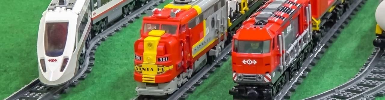 virmuze exhibit Lego Trains logo main banner