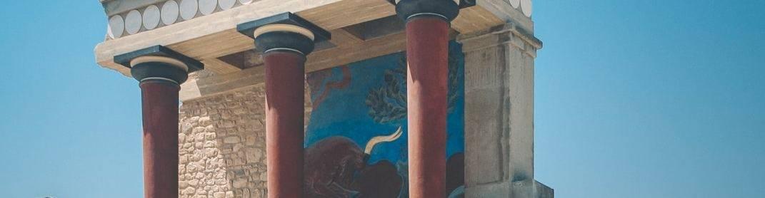 virmuze exhibit Minoan Mysteries surrounding art and archaeology logo main banner